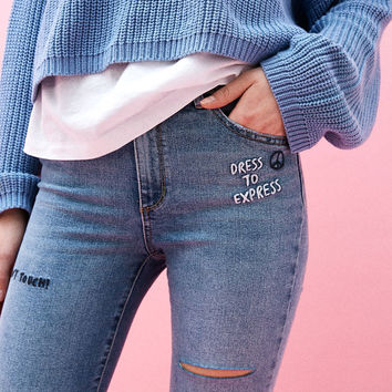 Embroidered skinny jeans - Denim Collection - Bershka United States