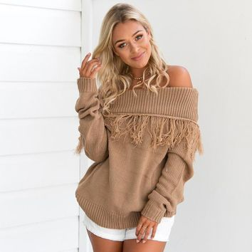 Winter Knit Tops Hot Sale Tassels Long Sleeve Sweater [14118518804]