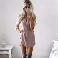 Women Sexy Mini Dresses Women Autumn Long Sleeve Casual Shirt Dress Mini Vintage Party Dresses LJ5836M