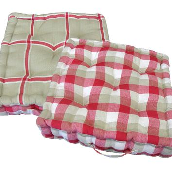 "15"" Plush Pink  White and Beige Plaid Reversible Indoor Chair Cushion"