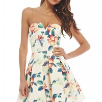 Strapless Floral Skater Dress
