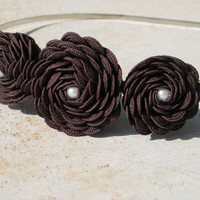 Chocolate Brown Fabric Rosettes and Pearl Headband