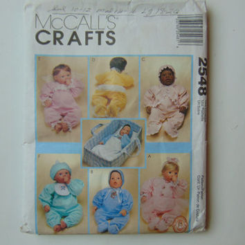 "McCall's Craft Sewing Pattern 2548 Clothes and Carry All For Dolls 10"" to 20"""