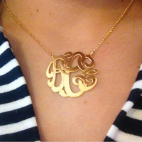 "SALE 1.50 "" Personalized Monogram necklace or pendant necklace, 14k gold plated, Custom Monogram preppy"