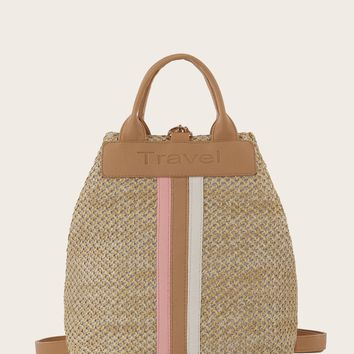 Striped Detail Woven Backpack