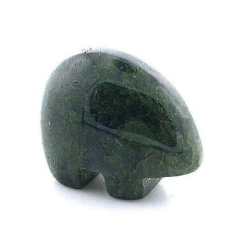 Green moss agate carved bear