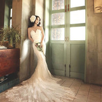 Deep Sweetheart Strapless Lace Mermaid Wedding Dress (#PB054)-Custom Made Order