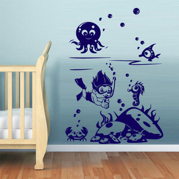 rvz540 Wall Decal Vinyl Sticker Nursery Kids Baby diver marine ocean sea Z540