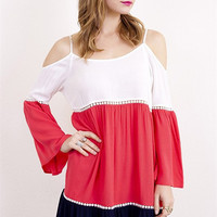 Color Block Bell Sleeve Dress - Ivory/Red/Navy