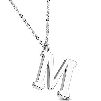 BodyJ4You Necklace Letter M Initial Alphabet Charm M Stainless Steel Chain