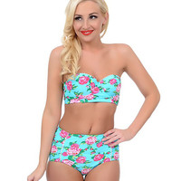 Betsey Johnson Light Blue & Pink Rose Garden Retro High-Waist Swim Bottom