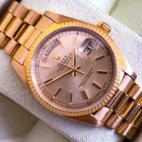 Rolex Day Date ref.18038 18ct gold box and papers and extra leather strap