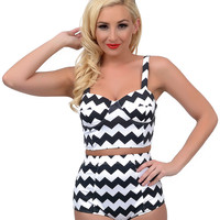 Kingdom & State Pin-Up Style Black & White Chevron Stripe High Waist Bombshell Swim Bottom