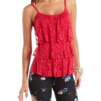Tiered Lace Panel Tank: Charlotte Russe