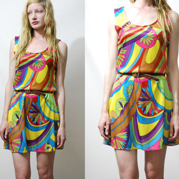 70s Vintage PSYCHEDELIC Dress Rainbow Acid Print Bright Mini Hippie Bohemian Club Kid 1970s vtg S M