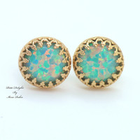Mint Opal Stud earrings Green bridesmaids gift - 14k Gold filled Crown settings seafoam Opal stone.