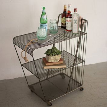 Rolling Drink Cart w/perforated Metal Shelves ~ Raw Metal