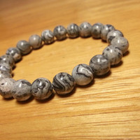 Picasso Jasper Bracelet - Grey Crazy Lace Jasper Bracelet, Grey Gemstone Beaded Jewelry, Grey Beaded Accessories