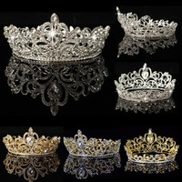 Crystal Rhinestone King Crown Tiara Wedding Pageant Bridal Diamante Headpiece - Walmart.com