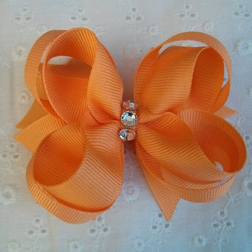 Soft or Light Orange Stacked Boutique Hair Bow with Silver Acrylic Jewels
