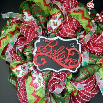 Deco Mesh Christmas Wreath Large Believe Wreath Polar Express Chalkboard Believe Wreath Holiday LIme Red Chevron Front Door Christmas