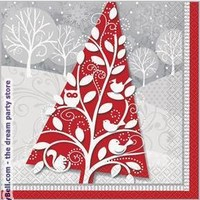 Frosted Holiday Lunch Napkins (20) - Multi-colored for Christmas