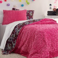 Full - Pink Leopard Heart Comforter Set | Bedding | rue21