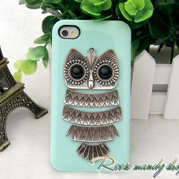 IPhone 4 cases, iPhone 4 s phone sets, silver owl series mint green mobile phone protection shell