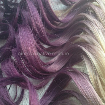 "Blonde Violet Hair Extensions//Christina Aguilera Inspired,Violet Purple Ombre,Purple DipDye,Blonde Hair,(7) Pieces,22"", Custom Your Own"