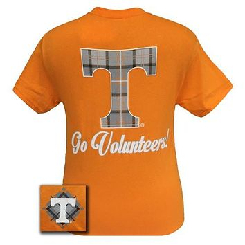 Tennessee Vols Volunteer Class Prep Plaid Logo Girlie Bright T Shirt
