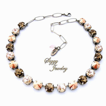 Swarovski Crystal Necklace, 10mm (47ss) Rivoli, Neutral Greige, Rose Gold, Silk, Earth Tones, Assorted Finishes, GAZELLE, Gift Packaged
