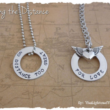 Long Distance Love - Hand Stamped Necklace Set