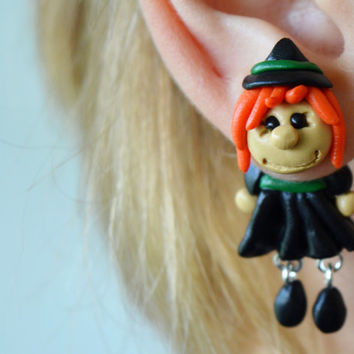 witch Earrings,Holiday Character dangling earrings,Halloween post,double sided earstud,ear jacket,two piece earring,black front back post