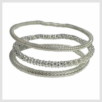 925 Sterling Silver Plated Mesh Chain Stretch Bracelet Bracelets Set of 3 (Two 4mm One 6mm)