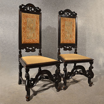 Antique Pair Hall Dining Side Chairs Needlepoint Anglo Dutch Victorian c1880