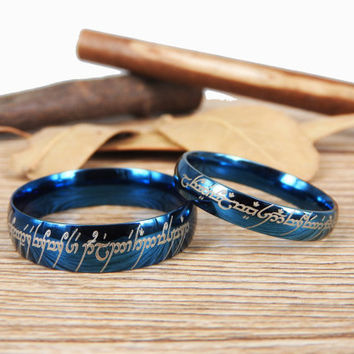 "Custom The Lord ""One Ring"" Your words Blue Dome in Tengwar, Matching Wedding Bands, Couple Rings Set, Anniversary Rings Set"
