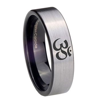 8MM Silver Black Ohm Design Om Yoga Pipe Cut Tungsten Carbide Laser Engraved Ring