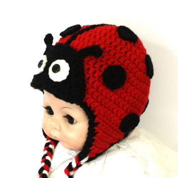 Crochet ladybug baby girl hat, funny outfit, beautiful beanie.