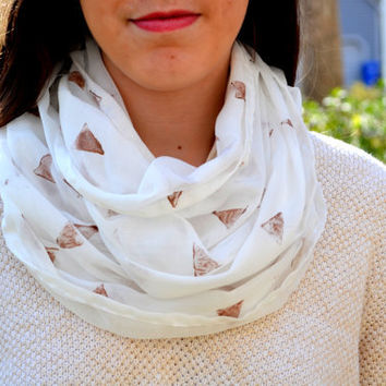 Gold and White Hand Printed Infintiy Scarf