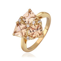 Crystal Golden Shadow Prong 18K Real Gold Plated Ring