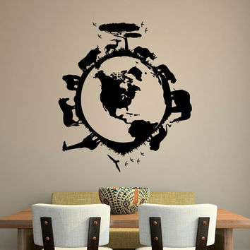 Safari Wall Decal Vinyl Sticker African Safari Jungle Wild Animals Tree Birds Globe Bedroom Nursery Living Room Wall Art Home Decor C115