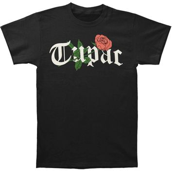 Tupac Men's  Rosey Logo T-shirt Black