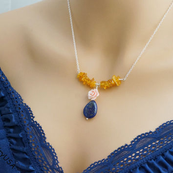 Sterling Silver Amber Necklace - Rose Flower Coral Necklace -  Lapis Lazuli Necklace