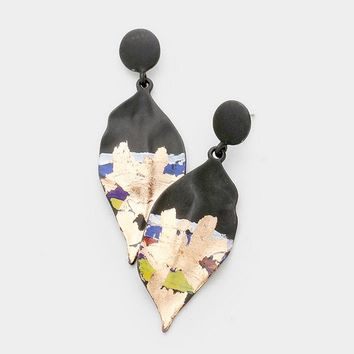 Dramatic Rose Gold Dipped Painted Leaf Dangle Earrings