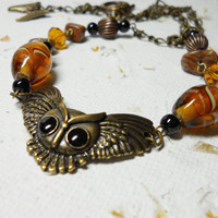 Owl Necklace Hoot Owl Pendant, Owl necklace, Brass chain, Brass beads Brass Owl Handmade in the USA Beautiful Glass beads and pendant