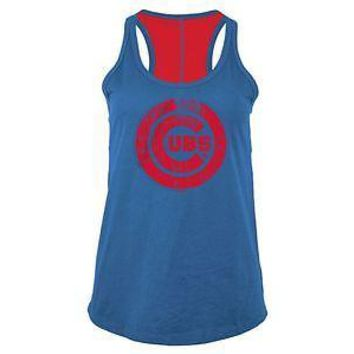 Chicago Cubs Tank Top Womens Foil Blue 5th & Ocean MLB