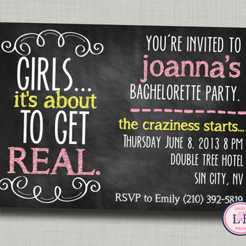 Bachelorette party invitation printable- chalkboard bachelorette invite- about to get real- lingerie shower- cheeky bachelorette invite
