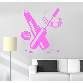 Vinyl Wall Decal Cosmetics Beauty Salon Make Up Lipstick Stickers Unique Gift (ig3924)