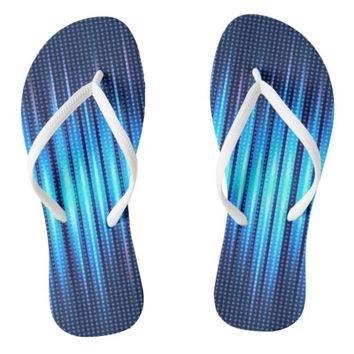 Abstract Cyan Blue Steady Lights Flip Flops