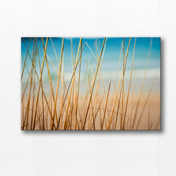 abstract beach canvas wrap beach photography canvas 12x12 24x36 fine art photography ocean large scale beach grass teal gold nautical decor